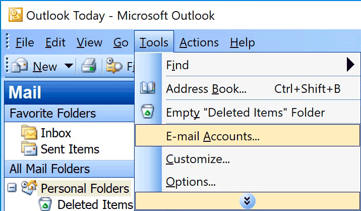 Windows : Outlook 2003 - Tools > Accounts