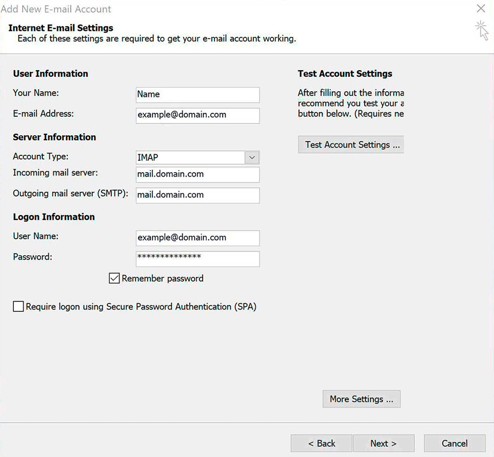 Windows : Outlook 2007 - Account Settings