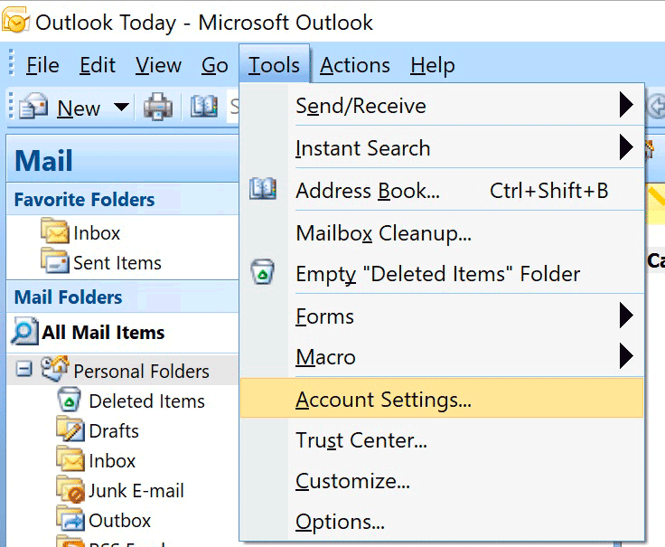 Windows : Outlook 2007 - Tools > Accounts