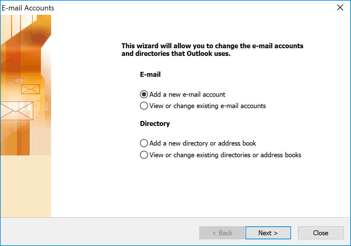 Windows : Outlook 2003 - Add Account