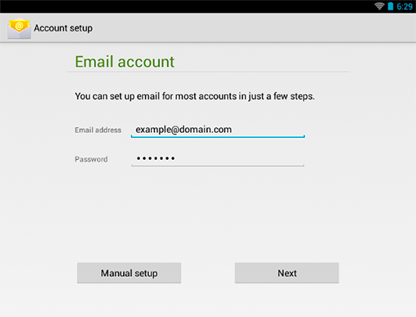 Android 4 : Account Manual Setup
