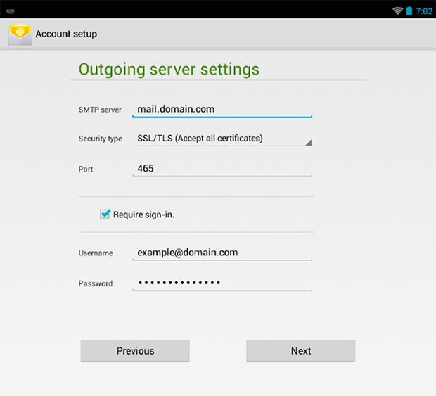 Android 4 : Outgoing Server Settings