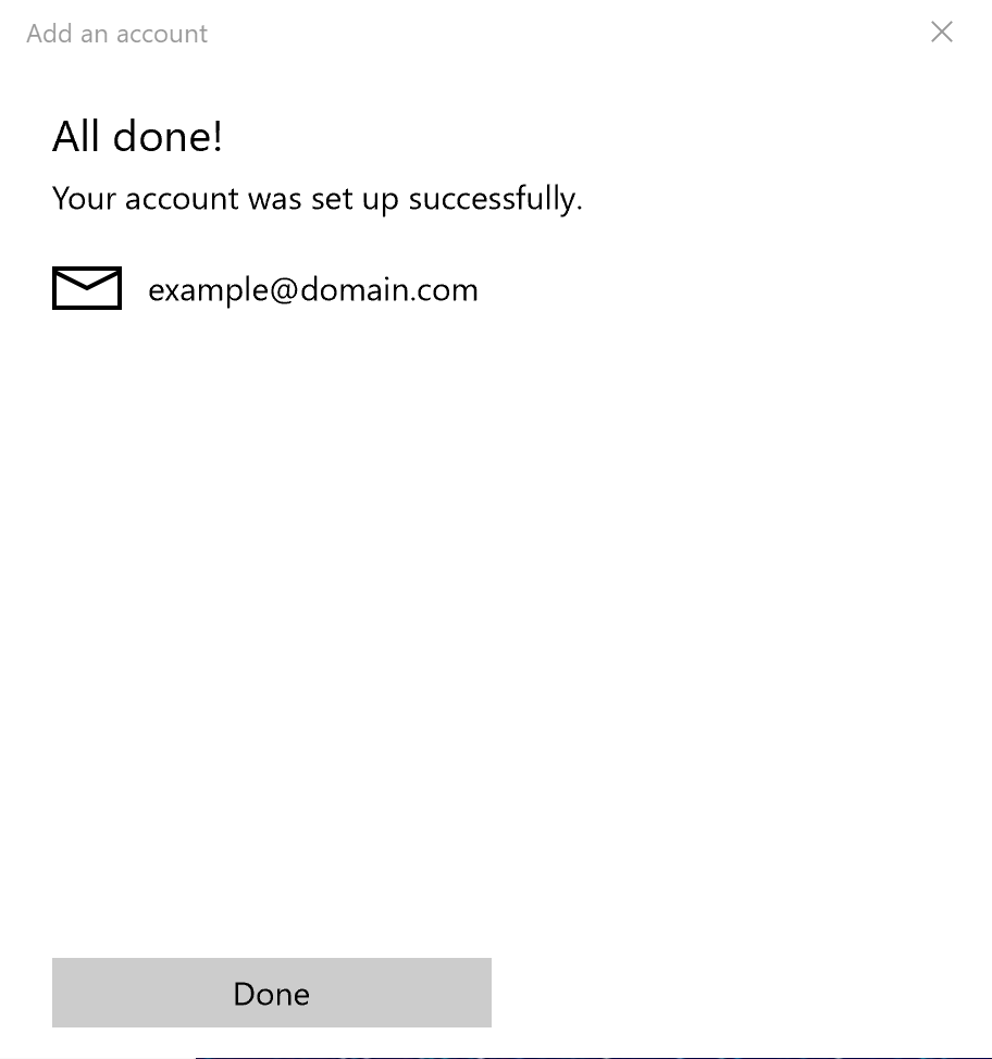 Windows 10 Mail : Account Set Up Complete