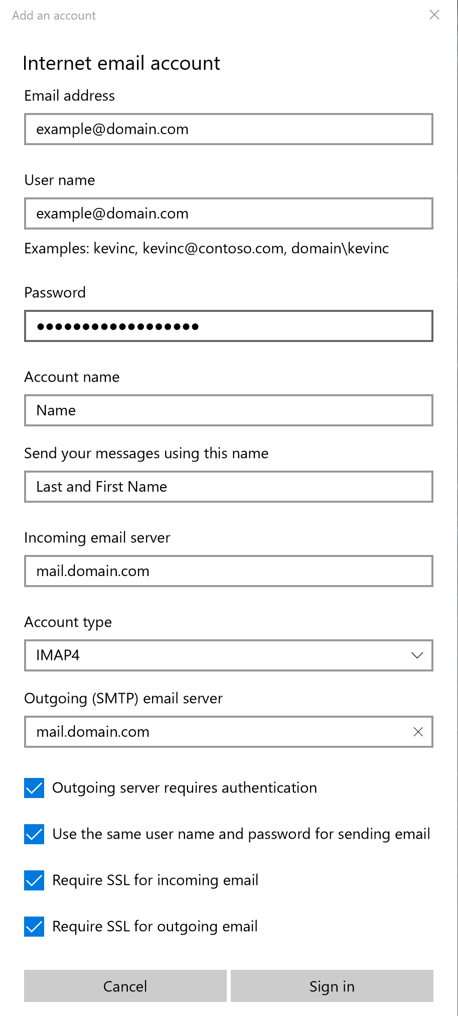 Windows 10 Mail : Account Settings