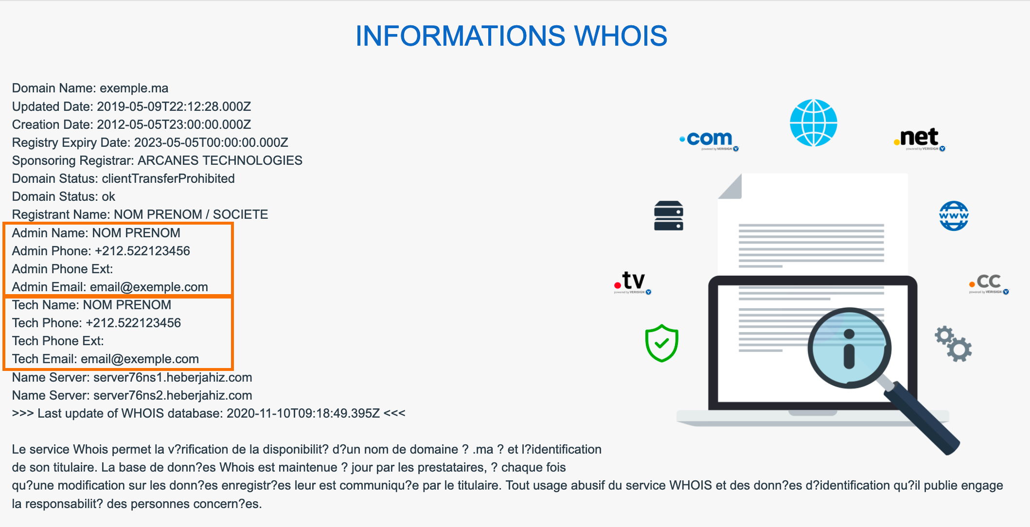 Informations WHOIS