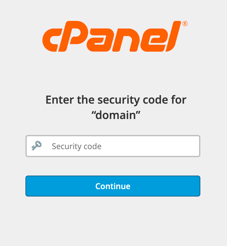 cPanel : Login with Security Code
