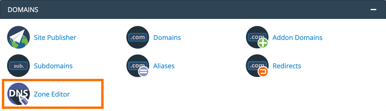 cPanel : Domains Zone Editor