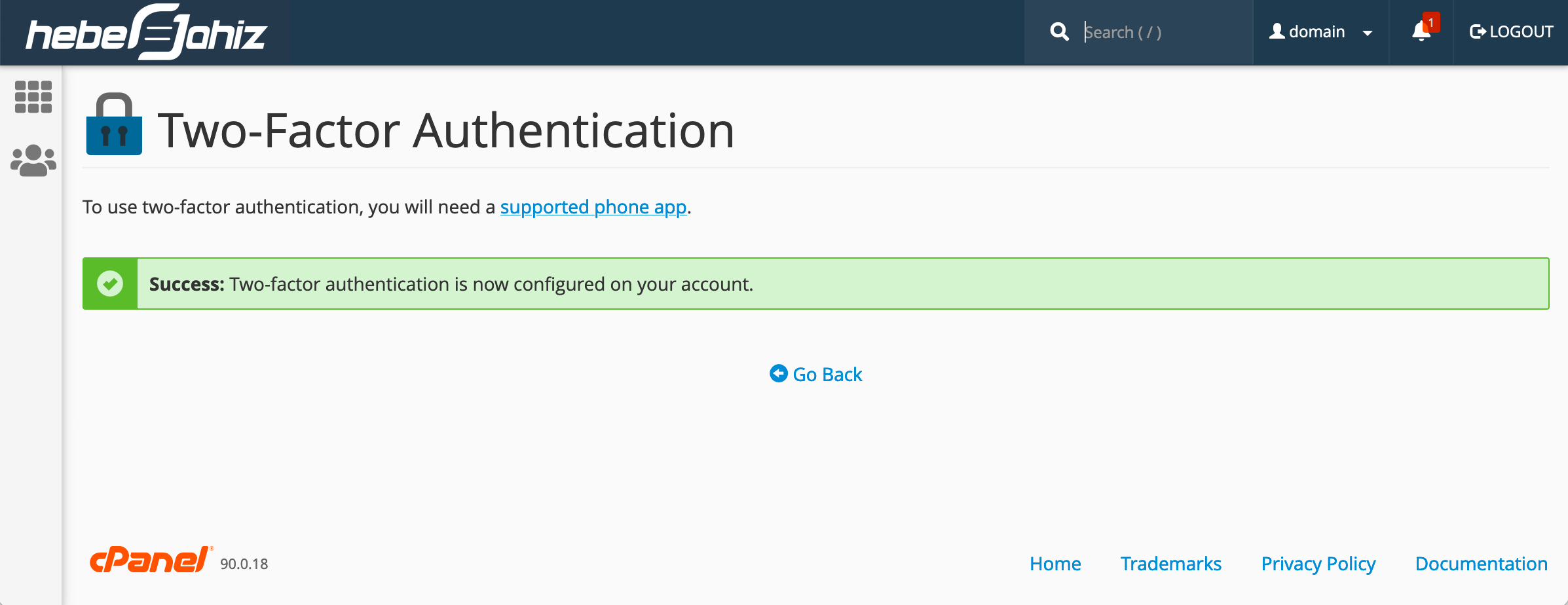 cPanel : Two-Factor Authentication Activated