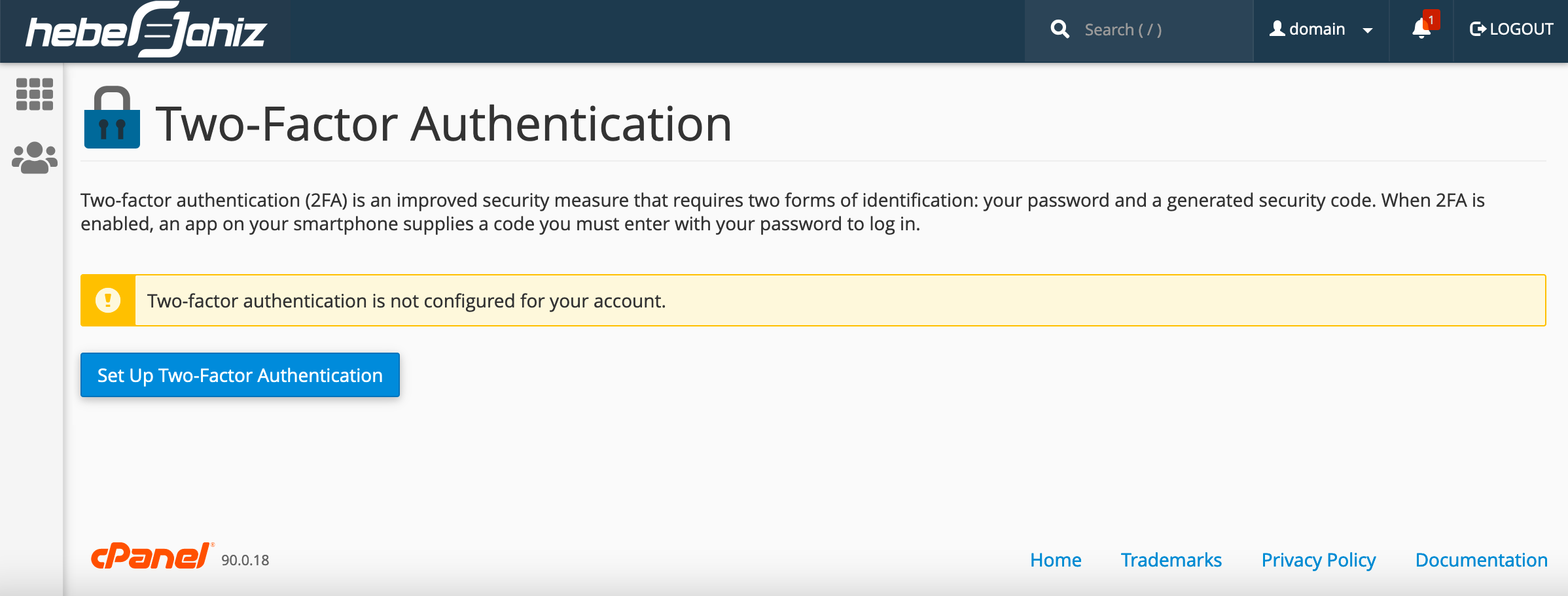 cPanel : Setup Two-Factor Authentication