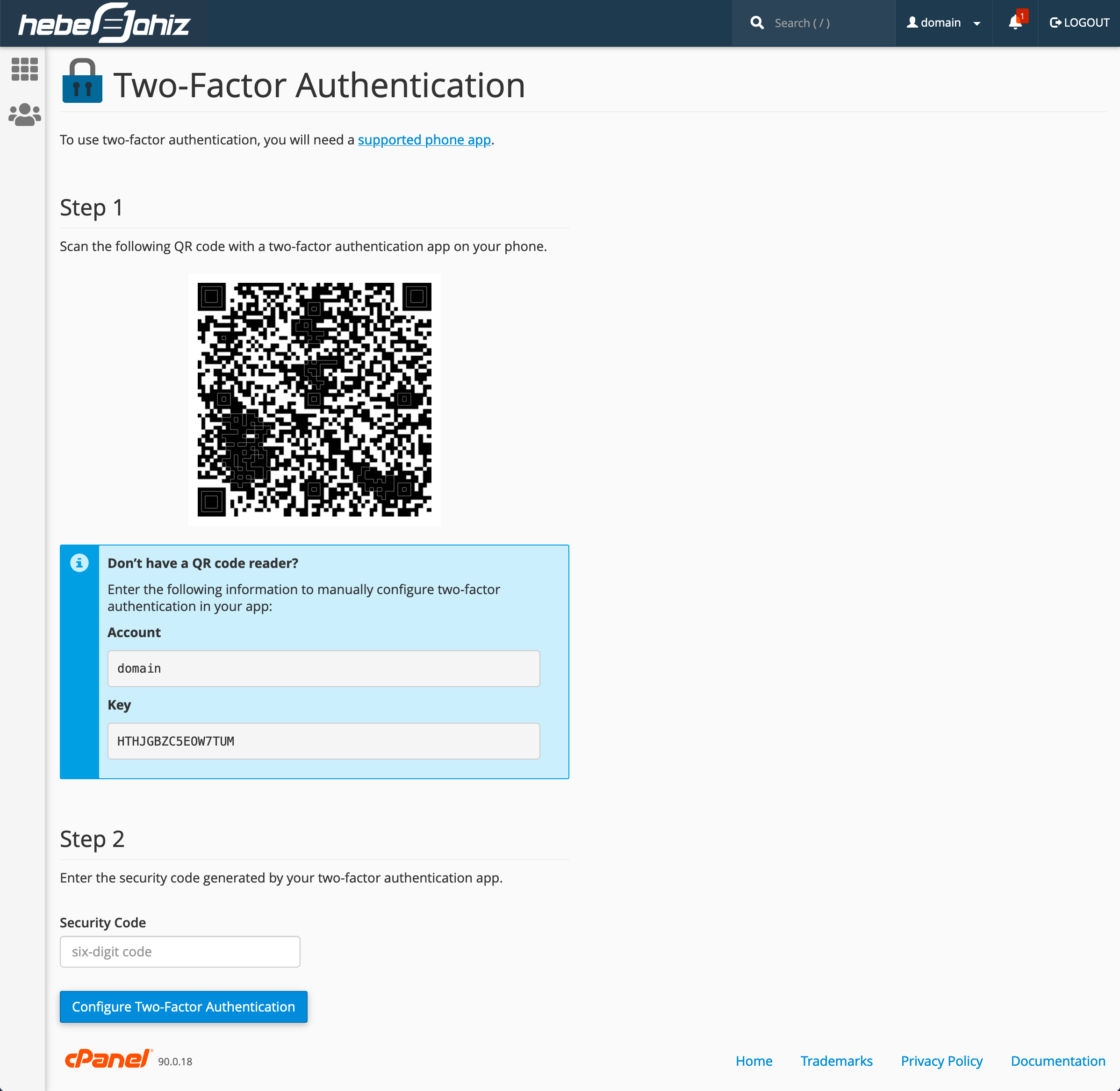 cPanel : Validate Two-Factor Authentication
