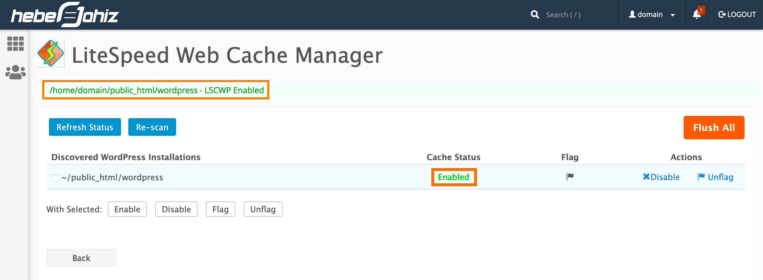 cPanel : LiteSpeed Web Cache - Enable